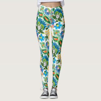 Boho Russian Folk Art Floral Pattern Leggings