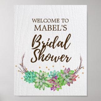 Boho Rustic Floral Succulent Bridal Shower Welcome Poster
