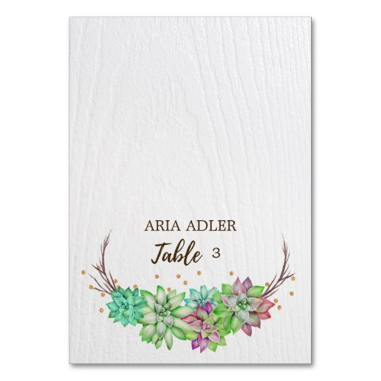 Boho Rustic Floral Succulent Wedding Escort Place Card