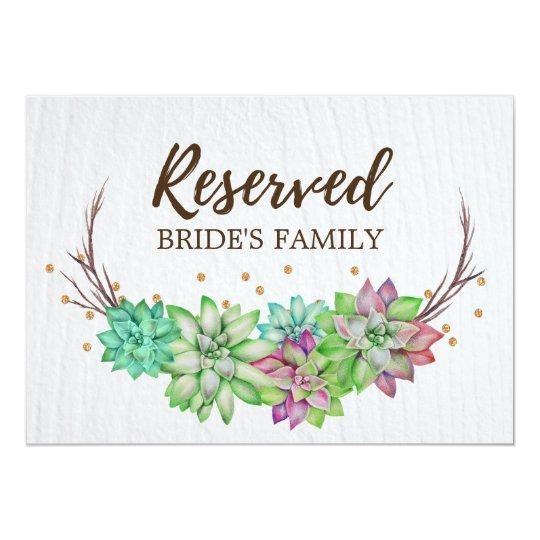 Boho Rustic Floral Succulent Wedding Reserved Sign Card