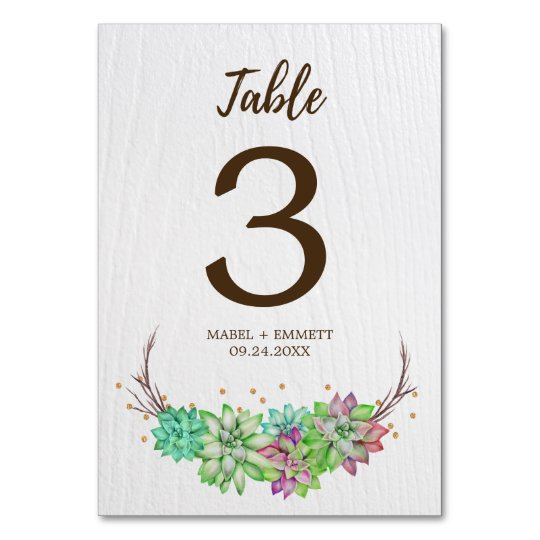 Boho Rustic Floral Succulent Wedding Table Number Table