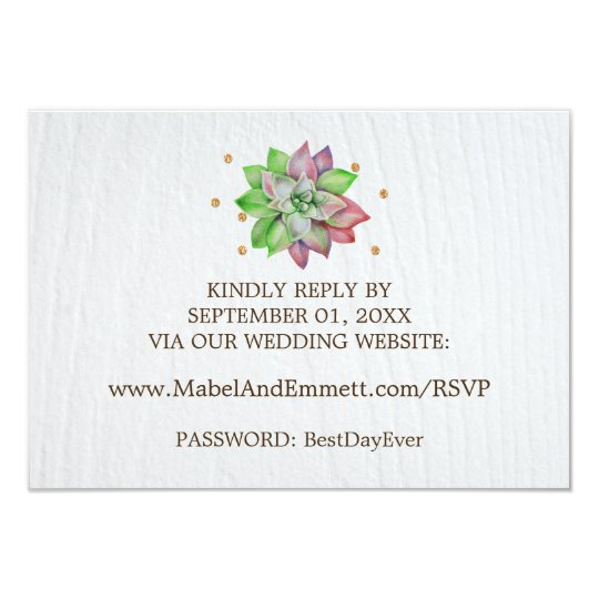 Boho Rustic Floral Succulent Wedding Website RSVP Card