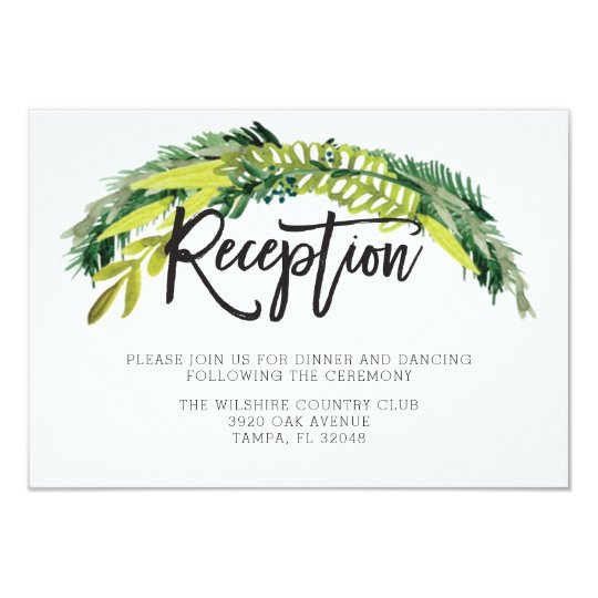 Boho Rustic Floral Wedding Reception Card