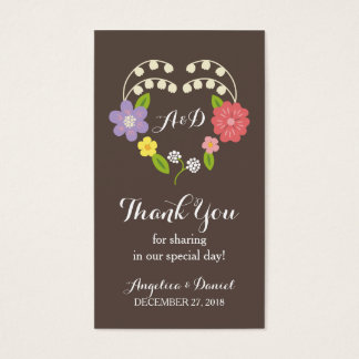 Boho Rustic Floral Wreath Wedding Business Card