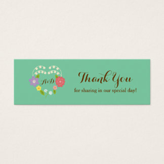 Boho Rustic Floral Wreath Wedding (Mint) Mini Business Card