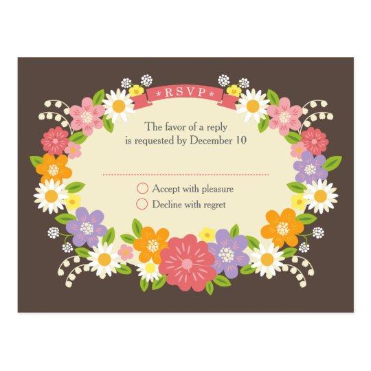Boho Rustic Floral Wreath Wedding Postcard