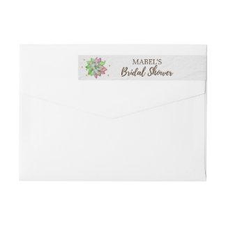 Boho Rustic Mint Floral Succulent Bridal Shower Wrap Around Label