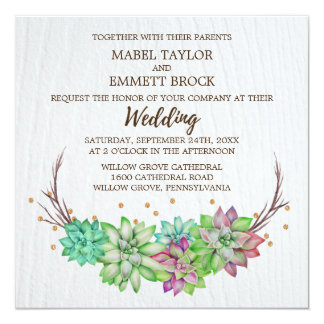 Boho Rustic Mint Floral Succulent Square Wedding Card