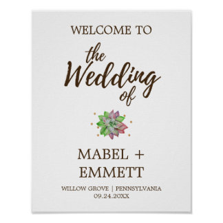 Boho Rustic Mint Floral Succulent Wedding Welcome Poster