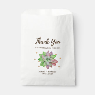 Boho Rustic Pink and Mint Floral Succulent Wedding Favour Bags