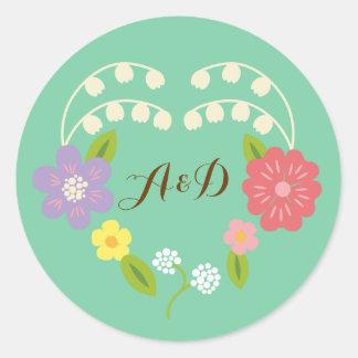 Boho Rustic Romantic Floral Wreath Classic Round Sticker