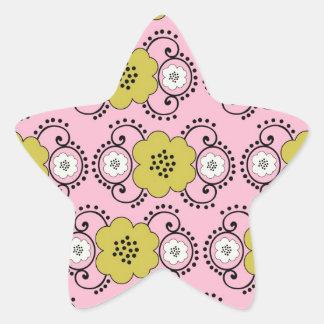 boho shabby chic damask green pink floral star sticker