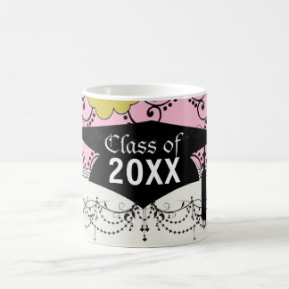 boho shabby chic damask green pink graduation classic white coffee mug