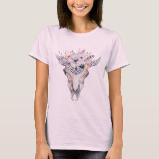 Boho Skull Flowers & Feathers T-Shirt