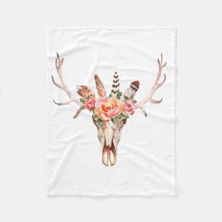 BoHo Skull Watercolor Custom Fleece Blanket