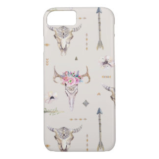 Boho Skulls, Flowers, and Arrows Pattern iPhone 7 Case