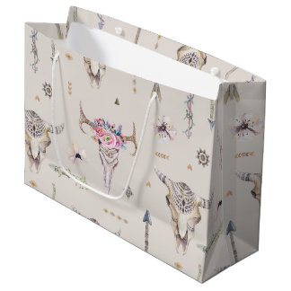 Boho Skulls, Flowers, and Arrows Pattern Large Gift Bag