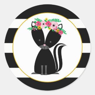 Boho Skunk Black + White Stripe Baby Shower Classic Round Sticker