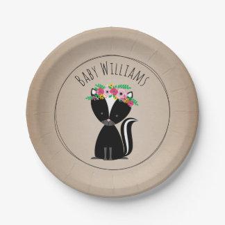 Boho Skunk Cardstock Inspired Custom Baby Shower 7 Inch Paper Plate