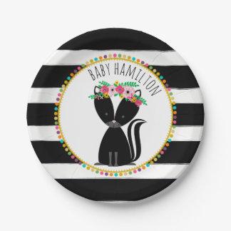 Boho Skunk Cardstock Inspired Custom Baby Shower Paper Plate