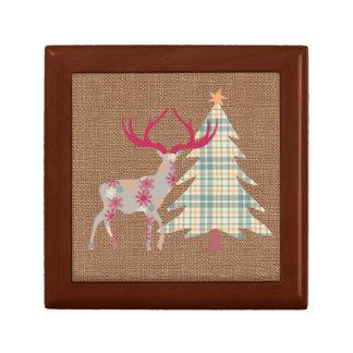 Boho Stag and Christmas Tree on Burlap Effect Gift Box