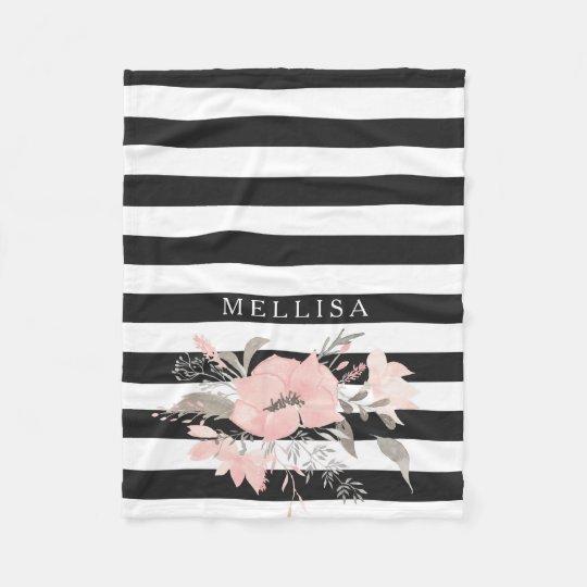 Boho Style Black| White Stripes Custom Name Floral