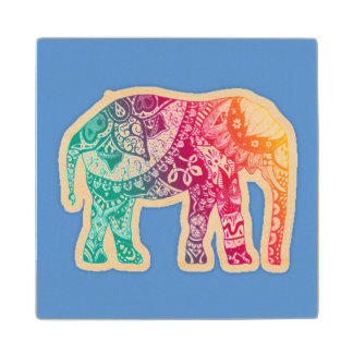 Boho Style Elephant Wood Coaster