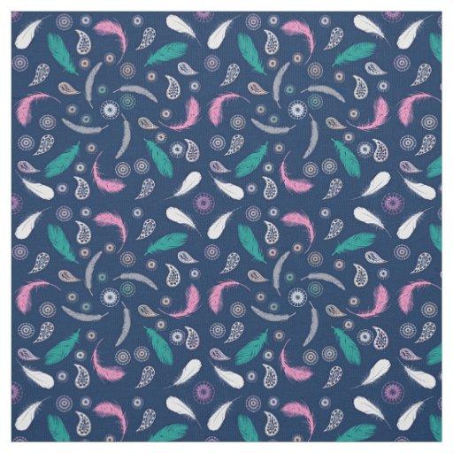 boho style feathers pattern fabric