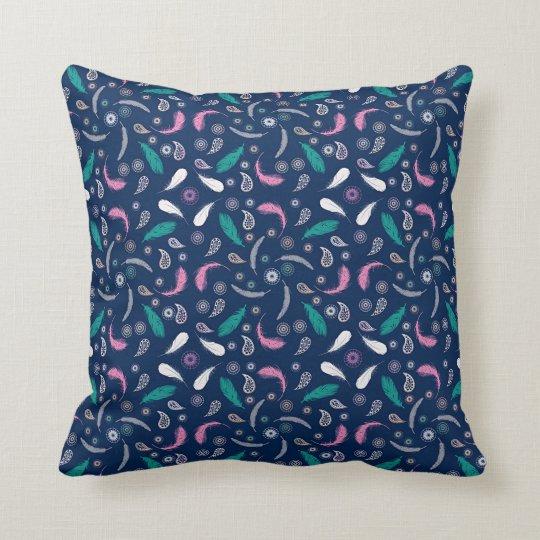 boho style feathers pattern throw pillow