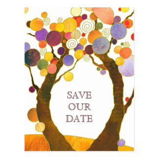 Boho Style Love Trees Wedding Save the Date Postcard