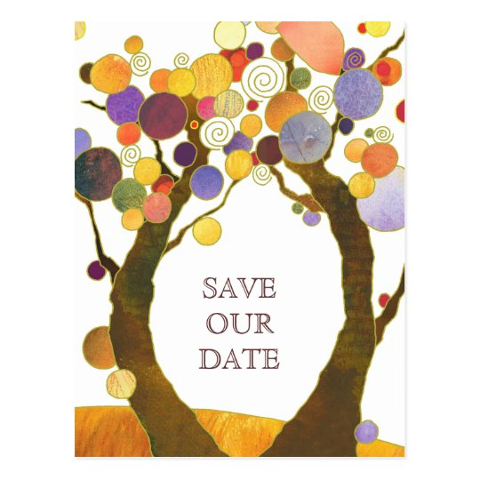Boho Style Love Trees Wedding Save the Date