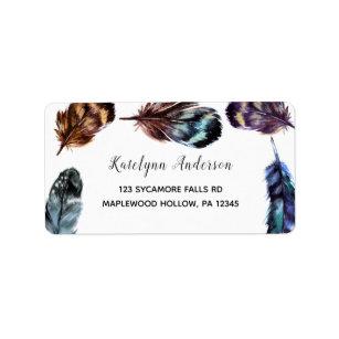 Boho Style Watercolor Feathers Return Address Label