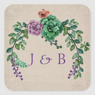 Boho Succulent Wreath Square Sticker