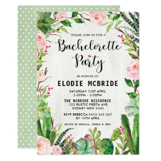Boho Succulents Pink Floral Bachelorette Hens Card