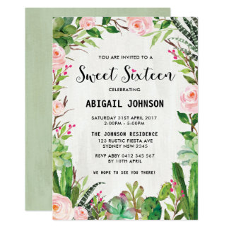 Boho Succulents Sweet Sixteen Pink Floral Invite