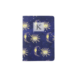 Boho sun moon and stars pattern blue watercolor passport holder