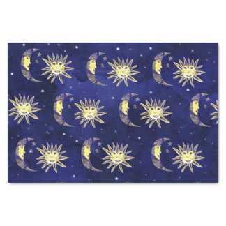 Boho sun moon and stars pattern blue watercolor tissue paper