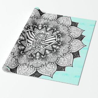 Boho Tangle Elephant and Hand Drawn Mandala Wrapping Paper