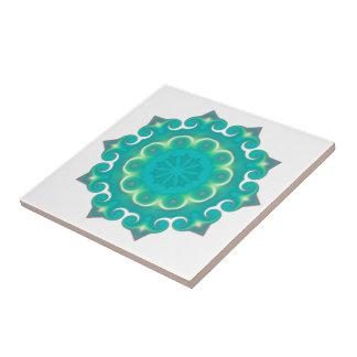 Boho Teal Mandala | Kaleidoscope Winter Snowflake Tile