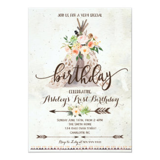 Boho TeePee birthday invitation, first birthday Card