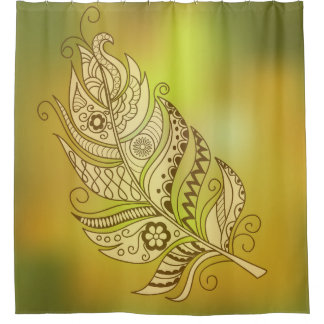 boho to feather shower curtain