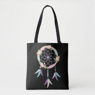 Boho Tote Bag in Black with Dream Catcher Image