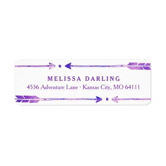 Boho Tribal Arrow Address Labels | Purple & Pink