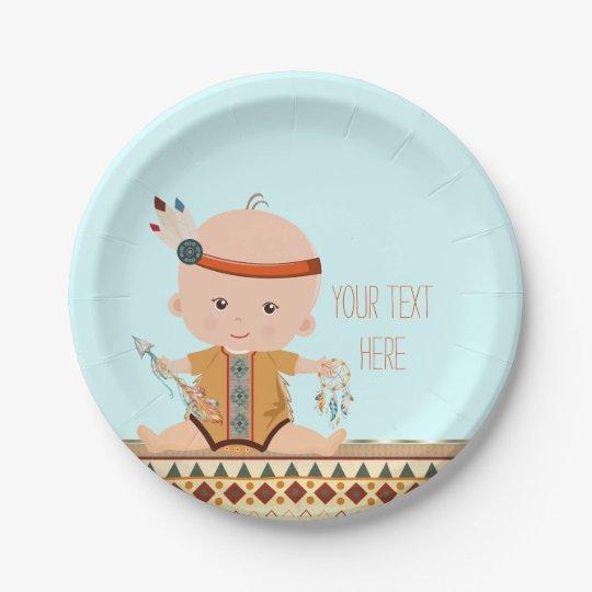 Boho Tribal Baby Shower Paper Plate