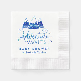 Boho Tribal Blue Adventure Baby Shower Napkins Disposable Napkin