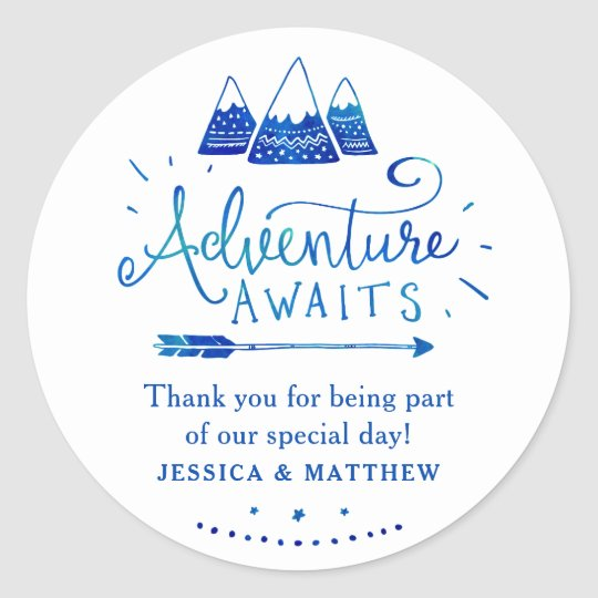 Boho Tribal Blue Adventure Baby Shower Stickers