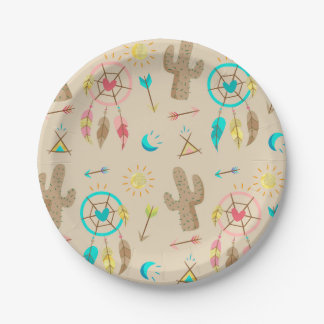 Boho Tribal Chic Dream Catchers Paper Plate