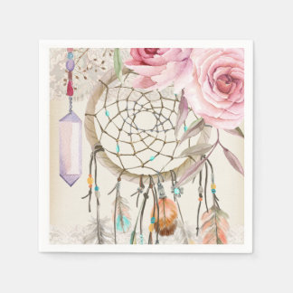 Boho Tribal Chic DreamCatcher & Roses Paper Napkin