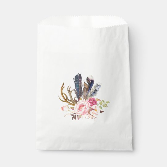 Boho Tribal Chic Feathers Candy Favour Bag