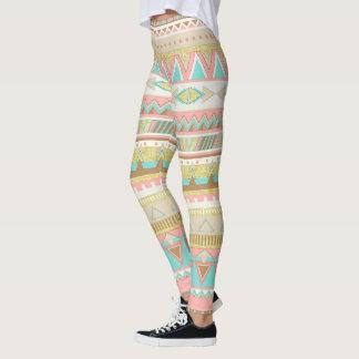 Boho Tribal Chic Geometric Stripe Leggings